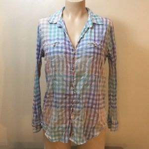 BDG Pastel Lite Weight Worn Looking Boho Flannel